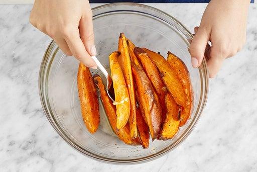 Dress the sweet potatoes & serve your dish