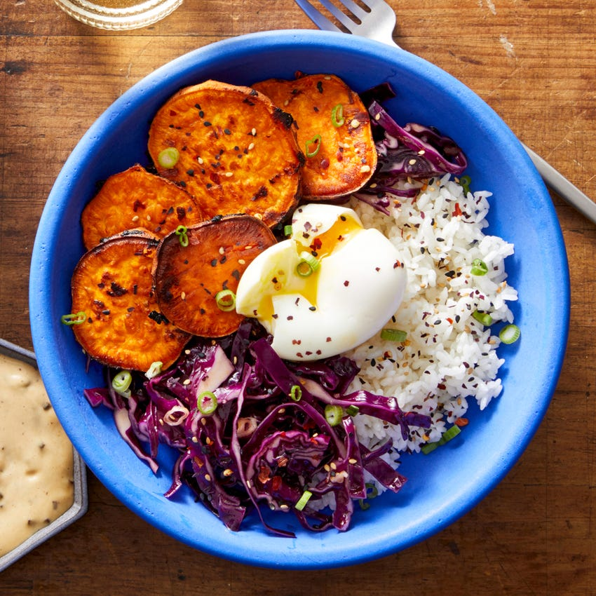 Miso Sweet Potato Donburi with Cabbage Slaw & Black Garlic Mayo