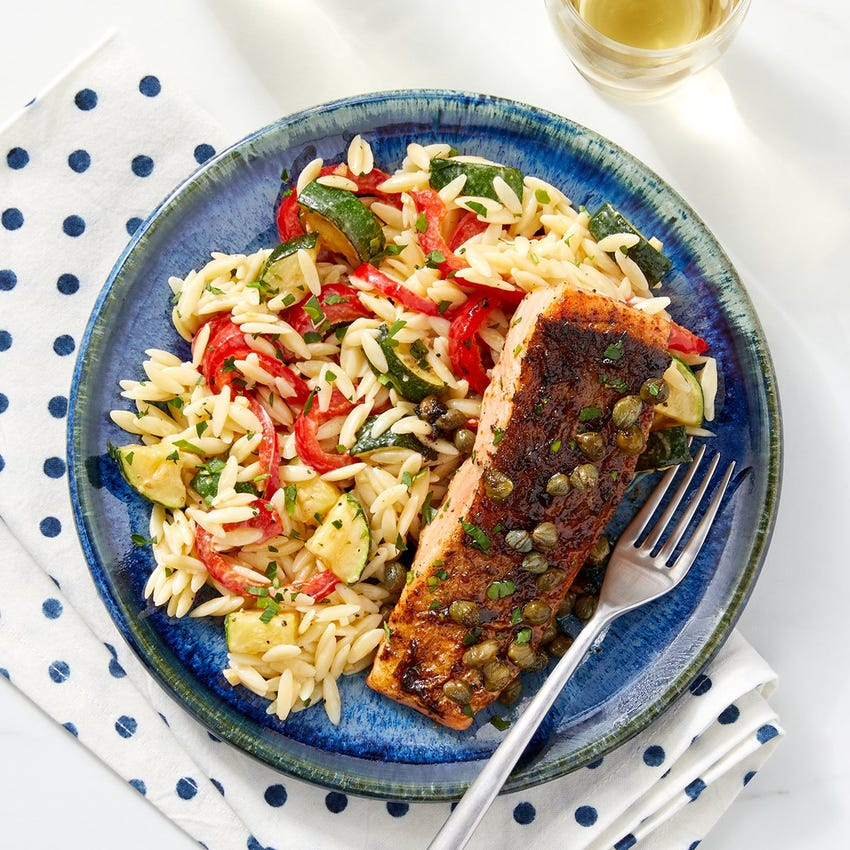 Steelhead Trout & Lemon-Caper Sauce with Orzo, Zucchini & Sweet Peppers