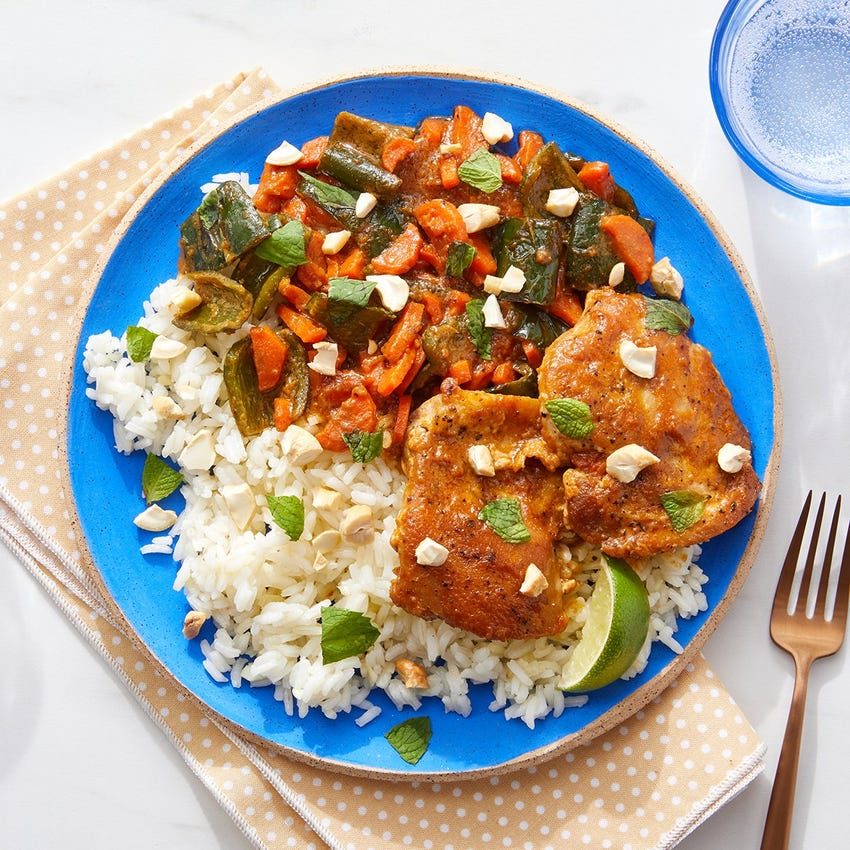 Cashew Korma-Braised Chicken Thighs with Carrots & Garlic Rice