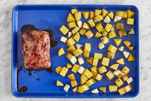 Roast the vegetables & pork
