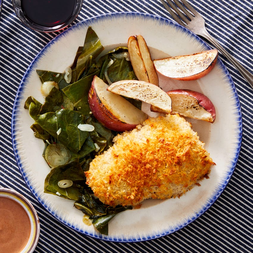 Sheet Pan Fried Chicken with Spicy Collards & Roasted Red Potatoes