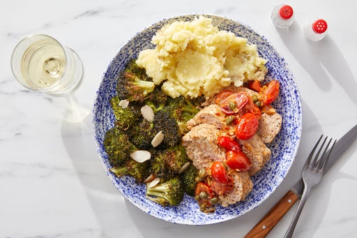 Turkey Meatloaf & Tomato-Caper Sauce with Roasted Broccoli & Mashed Potatoes