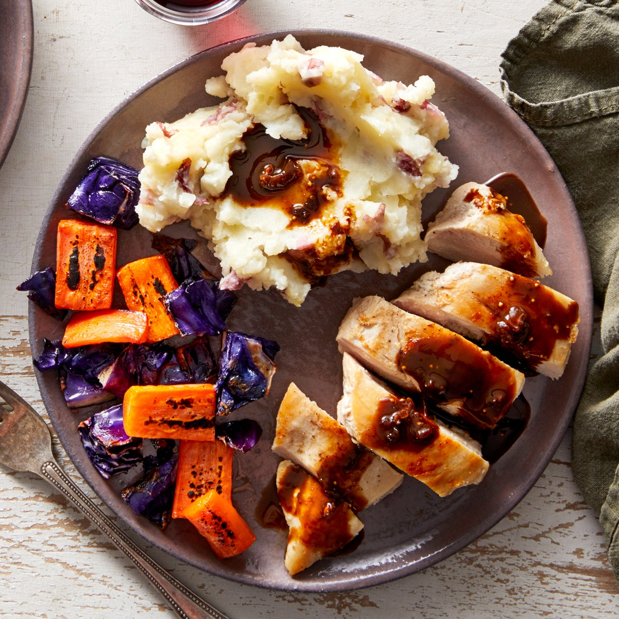 Fig-Balsamic Chicken with Mashed Red Potatoes & Roasted Vegetables