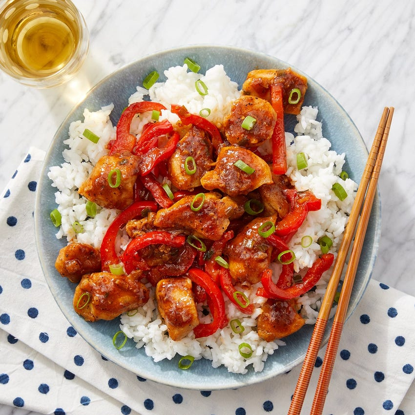 Sweet & Spicy Chicken with Jasmine Rice & Sweet Peppers
