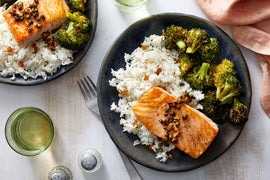 Salmon Piccata with Garlic Rice & Roasted Broccoli