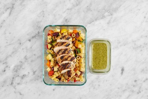 Assemble & store the Oregano Chicken & Pasta Salad