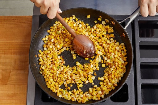 Cook the vegetables & finish the farro