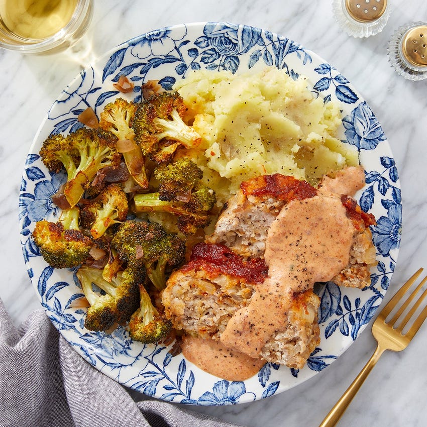 Turkey Meatloaf & Romesco Ketchup with Mashed Potatoes & Roasted Broccoli