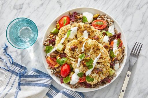 Middle Eastern Brown Rice & Lentils with Dukkah-Roasted Cauliflower Steaks