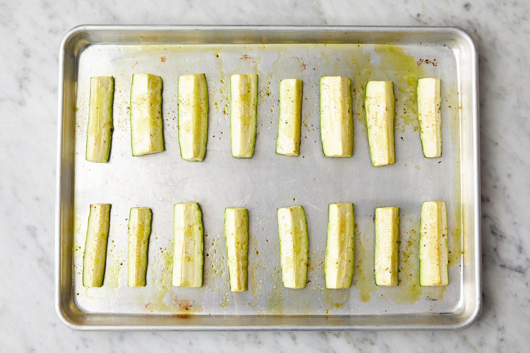 Roast & dress the zucchini: