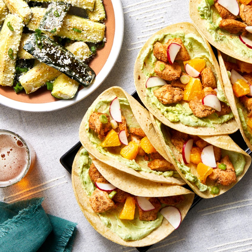 Mexican-Spiced Chicken Tacos with Citrus Salsa & Creamy Zucchini
