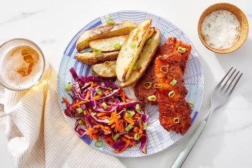 Tempura Fish & Chips with Ponzu-Sesame Slaw & Yuzu Mayo
