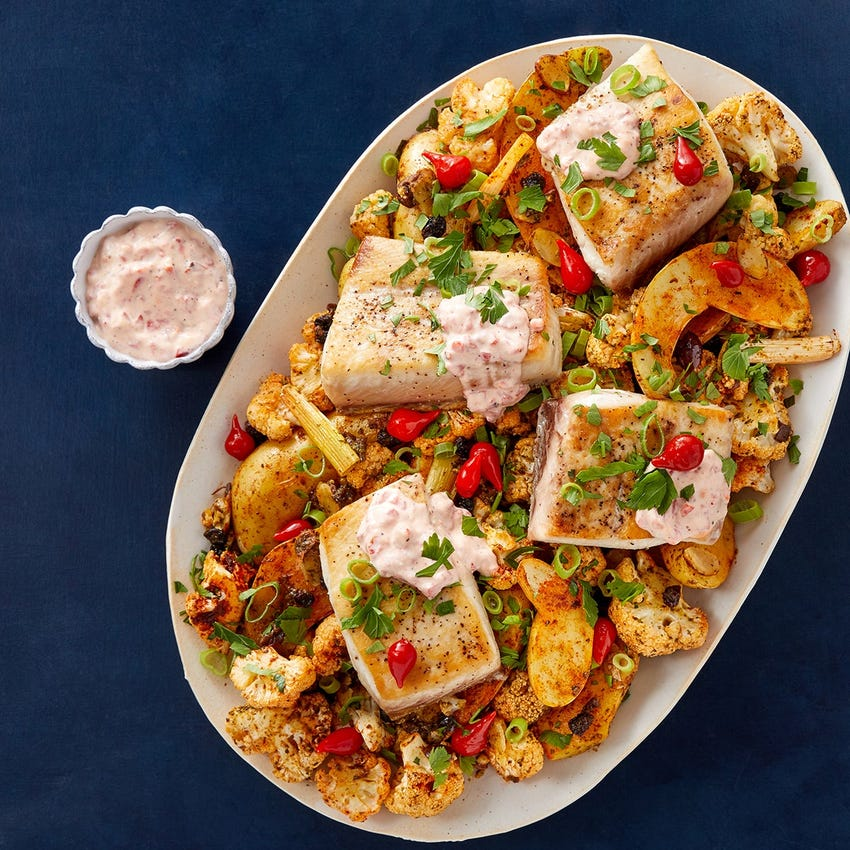 Seared Yellowtail & Roasted Pepper Aioli with Spanish-Spiced Vegetables & Cilantro Sauce
