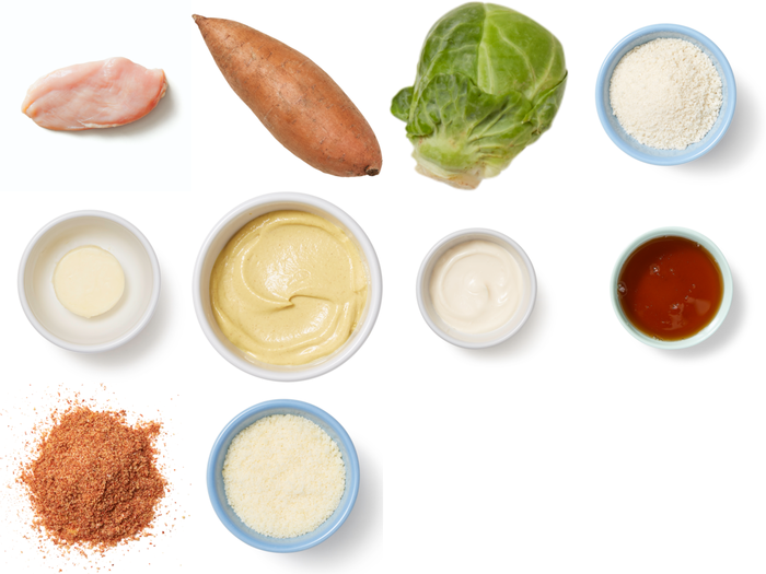 Sheet Pan Panko Chicken with Vegetables & Maple-Mustard Sauce