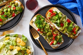 Broccoli & Ricotta Tartines with Aioli & Romaine Salad