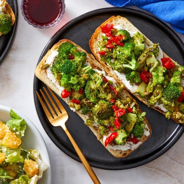 Broccoli & Ricotta Tartines with Aioli & Romaine Salad