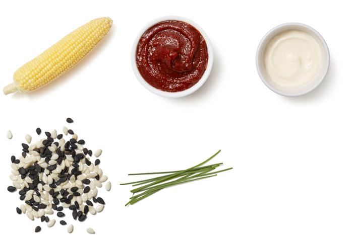 Corn on the Cob with Gochujang Mayo & Sesame Seeds