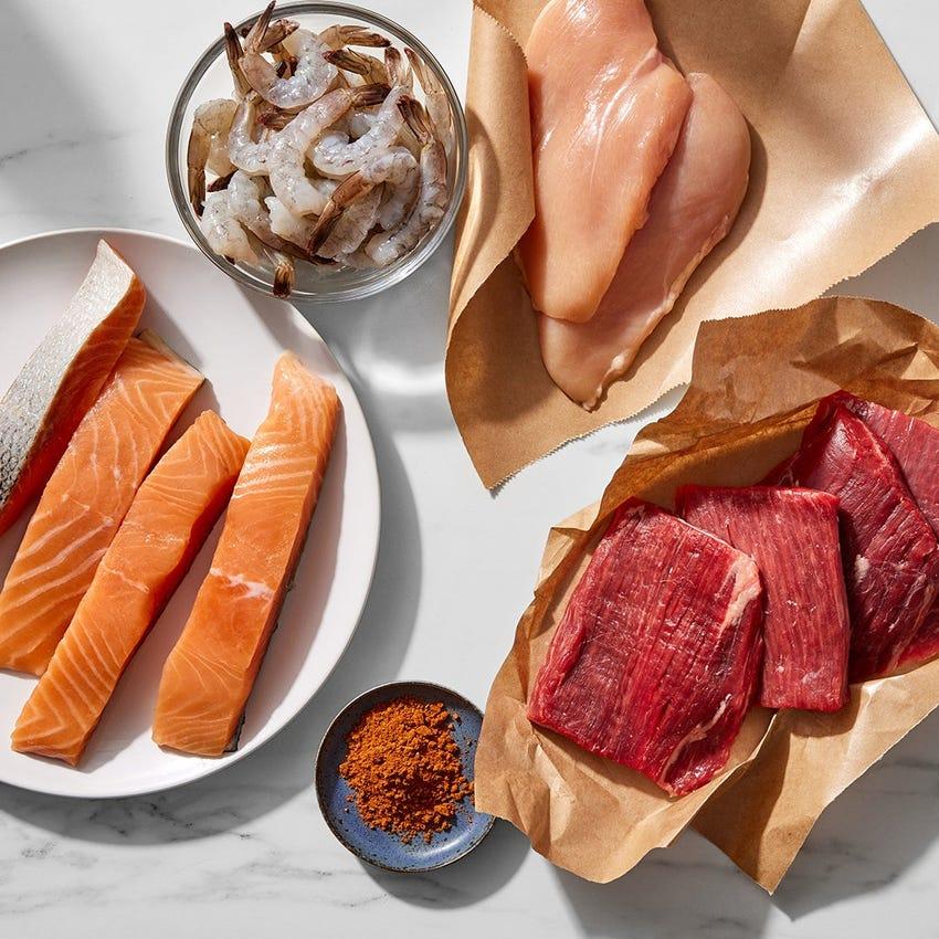 Surf & Turf Steaks, Chicken, Salmon & Shrimp