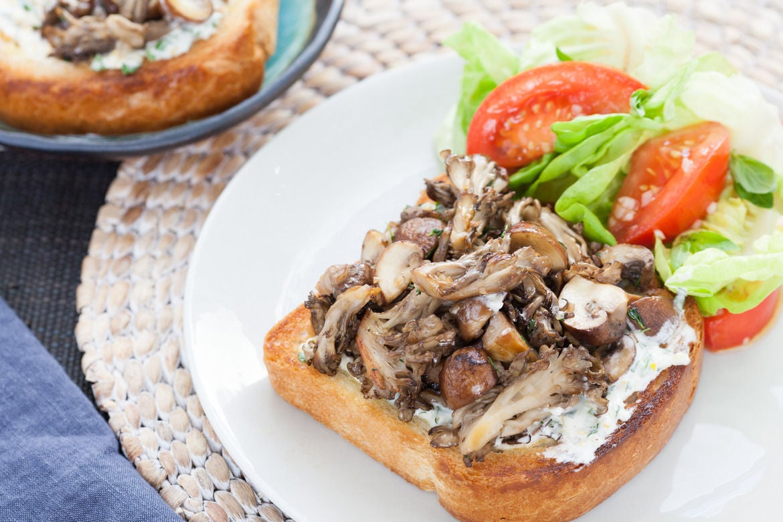Mixed Mushroom Toasts with Lemon-Basil Mayo & Tomato Salad