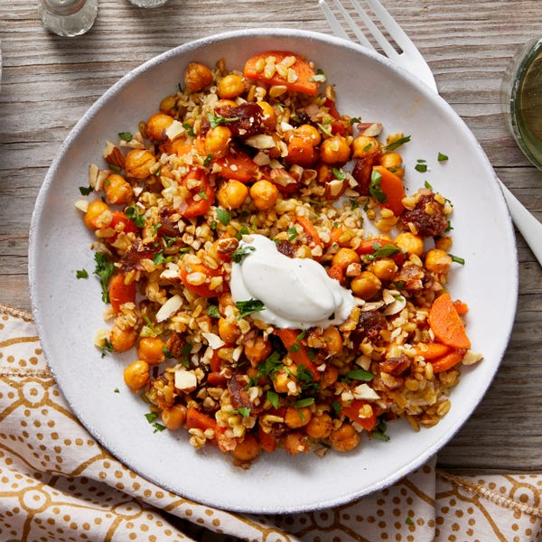 Roasted Chickpea & Freekeh Salad with Lemon Labneh & Harissa-Glazed Carrots