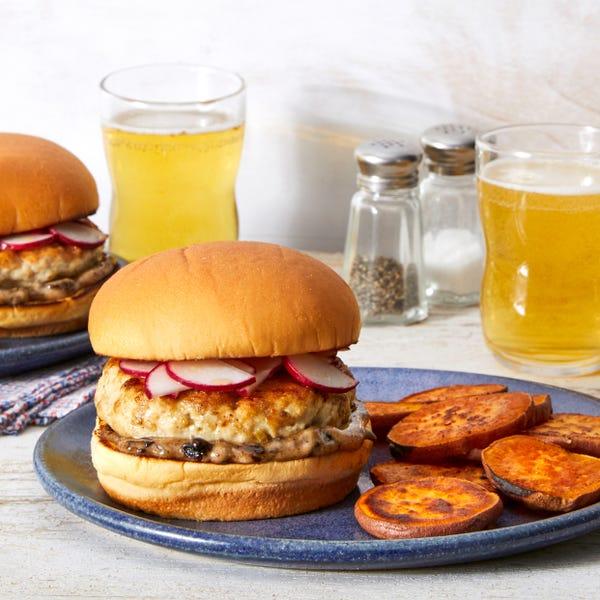 Lemongrass-Ginger Turkey Burgers with Roasted Sweet Potatoes & Black Garlic Mayo