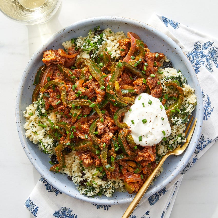 Romesco Beef & Poblano Pepper with Currant Couscous