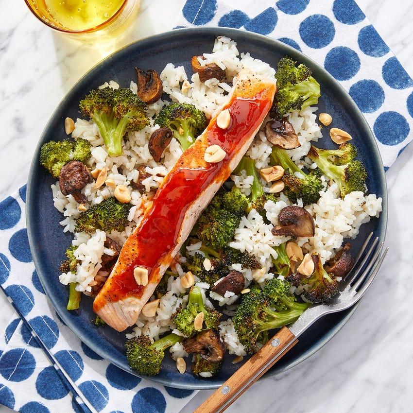 Soy-Gochujang Salmon with Broccoli & Mushroom Rice