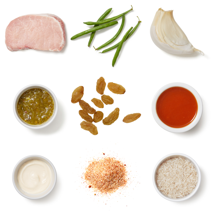 Southern-Style Pork & Creamy Relish with Green Beans & Rice