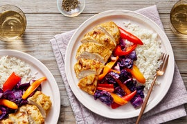 Sheet Pan Curry Chicken & Vegetables with Creamy Coconut Rice