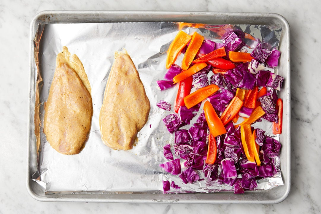 Prepare the chicken & vegetables:
