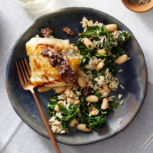 Seared Cod & Olive Tapenade with Kale & Brown Rice