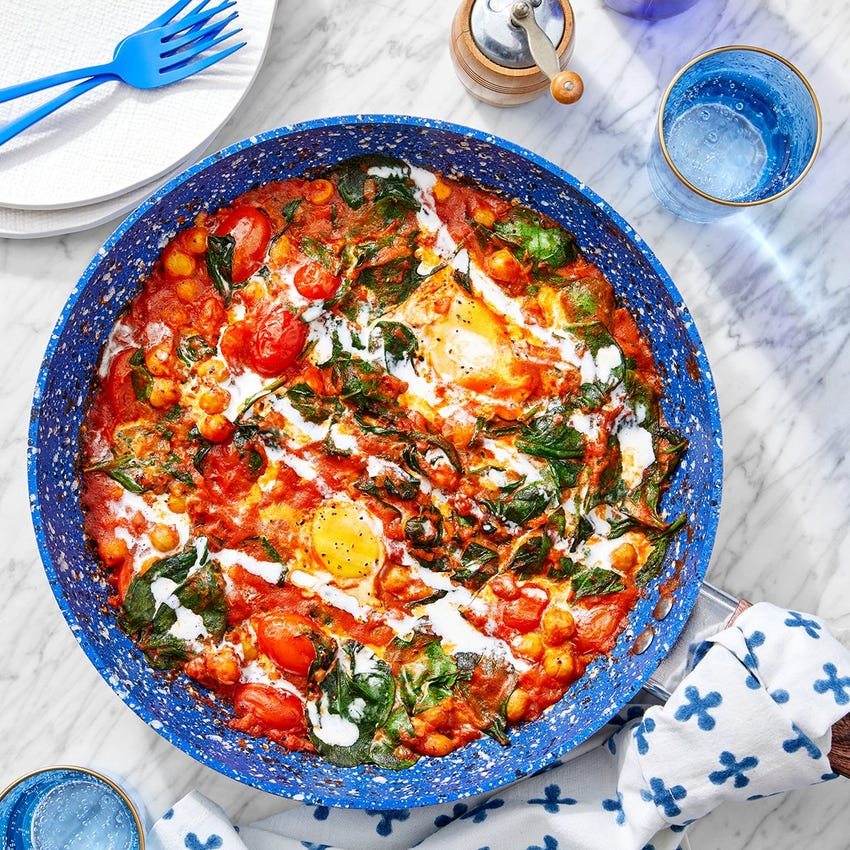 One-Pan Chickpea & Curry Shakshuka with Tomatoes & Spinach
