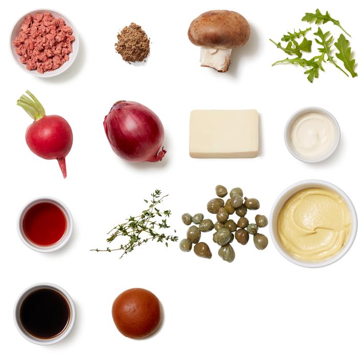 Truffle & Fontina Burgers with Sautéed Mushrooms & Arugula Salad