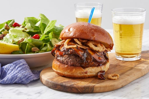 Steakhouse Cheddar Burger with Butter Lettuce, Cucumber & Pistachio Salad