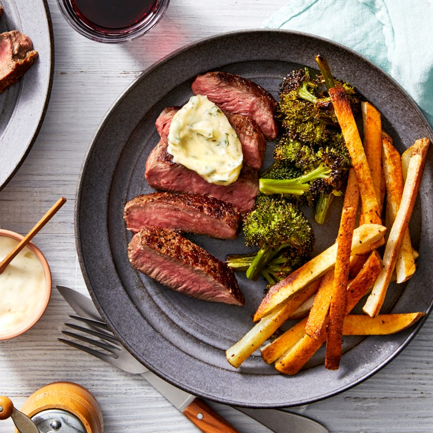 Parisian Steak  Frites with Roasted Broccoli & Lemon Aioli