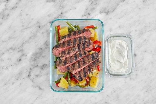 Assemble & store the Grilled Steak & Lemon Labneh