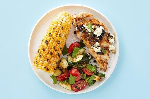 Finish & serve the Smoky Chicken & Za'atar Corn