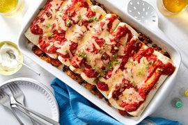 Veggie & Black Bean Enchiladas with Spiced Tomato Sauce & Rice