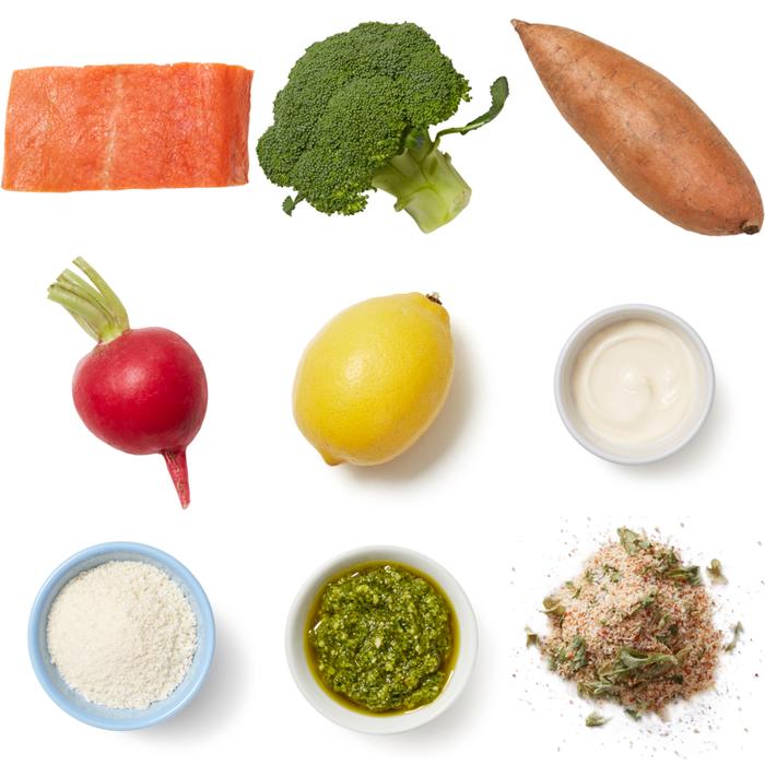 Sheet Pan Pesto Salmon with Roasted Vegetables