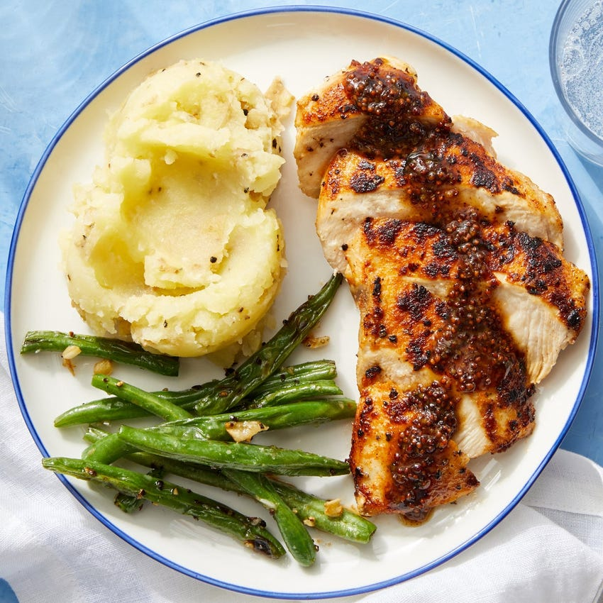 Seared Chicken & Dijon Pan Sauce with Buttermilk Mashed Potatoes & Green Beans