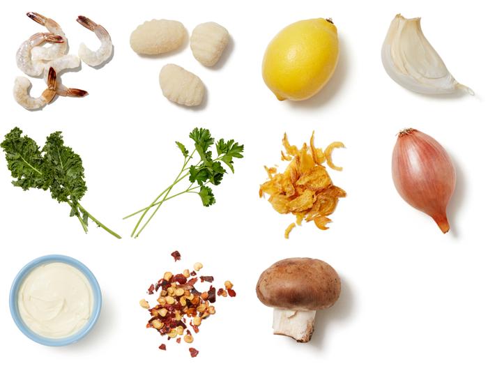 Shrimp, Kale & Mushroom Gnocchi with Crispy Onion Gremolata