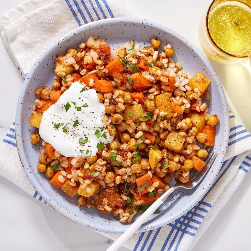 Roasted Chickpea & Barley Salad with Lemon Labneh & Harissa-Glazed Vegetables
