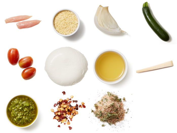 Chicken, Zucchini & Tomato Orzo with Salsa Verde