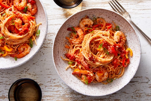 Shrimp & Tomato Spaghettini with Garlic-Oregano Breadcrumbs