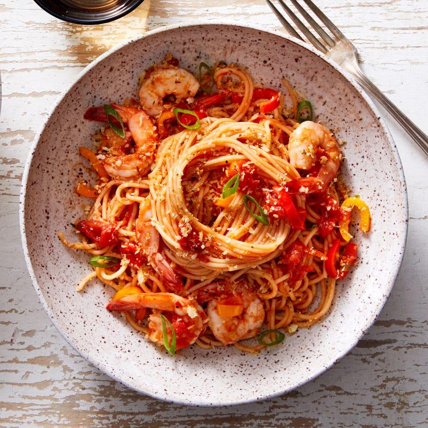 Shrimp & Tomato Spaghettini with Garlic-Oregano Breadcrumbs