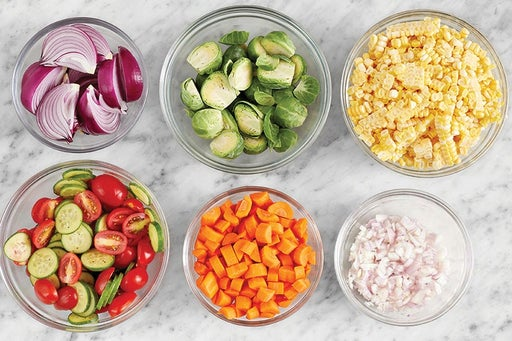 Prepare the remaining ingredients & marinate the vegetables