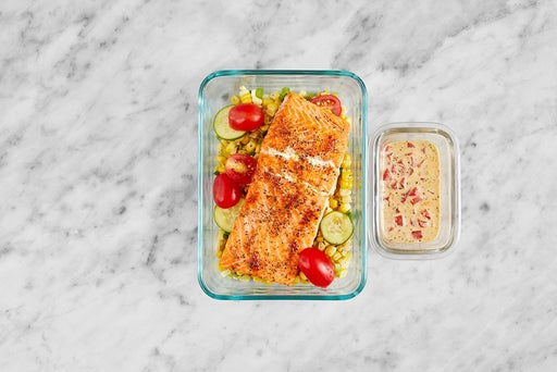Assemble & Store the Roasted Trout & Corn Salad