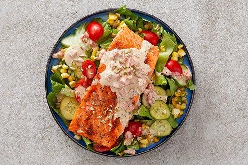 Finish & Serve the Roasted Trout & Corn Salad