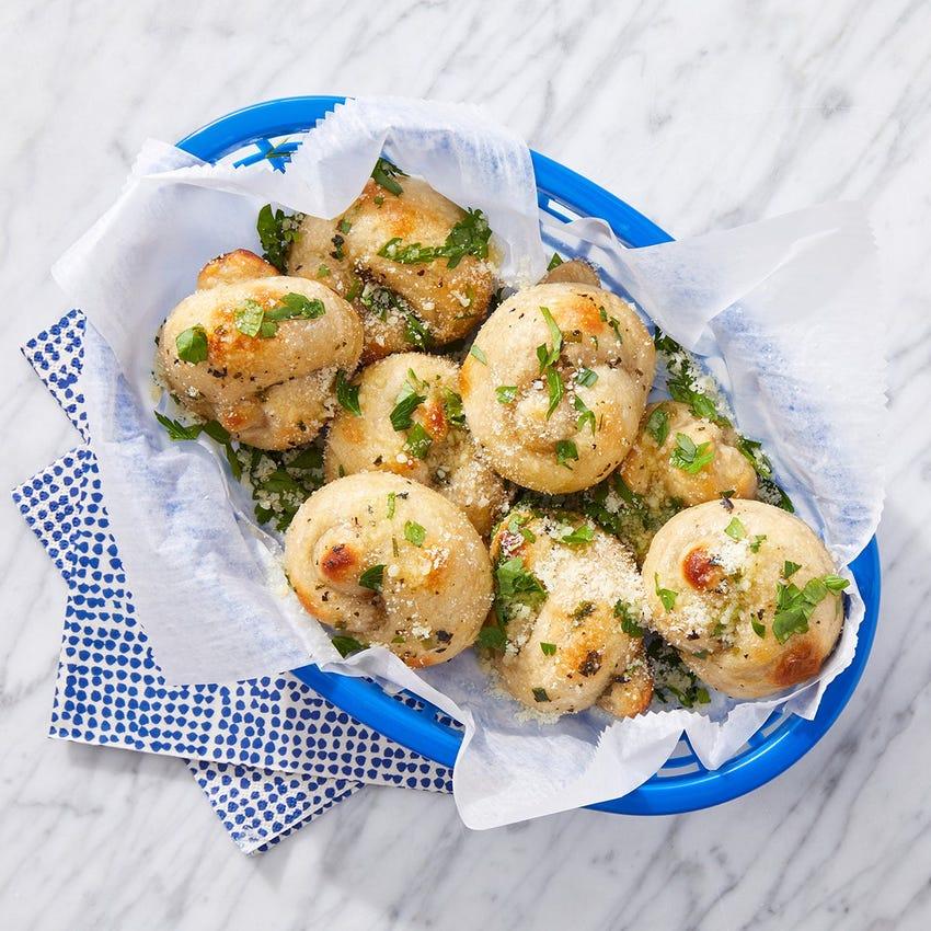 Garlic Knots with Parsley & Parmesan